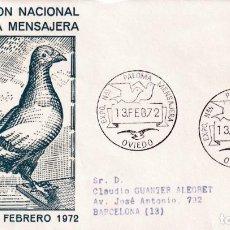 Sellos: PALOMA MENSAJERA VII EXPOSICION, OVIEDO (ASTURIAS) 13 FEBRERO 1972. MATASELLOS EN SOBRE DE ALFIL MPM. Lote 194632111