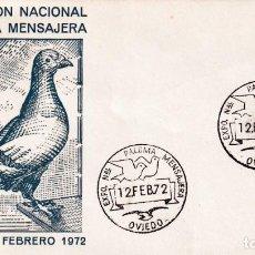 Sellos: PALOMA MENSAJERA VII EXPOSICION, OVIEDO (ASTURIAS) 12 FEBRERO 1972. MATASELLOS EN SOBRE DE ALFIL MPM. Lote 194632297