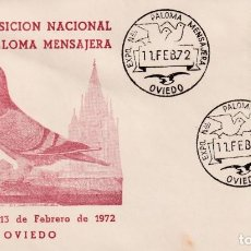 Sellos: PALOMA MENSAJERA VII EXPOSICION, OVIEDO (ASTURIAS) 11 FEBRERO 1972. MATASELLOS SOBRE ILUSTRADO. MPM.. Lote 194632435