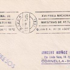 Sellos: XVI FERIA NACIONAL DE MUESTRAS DE ASTURIAS, GIJON 1972. RARO MATASELLOS DE RODILLO EN SOBRE.. Lote 194633003
