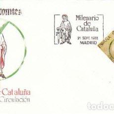 Sellos: EDIFIL 2961, MILENARIO DE CATALUÑA, PRIMER DIA DE 27-9-1988 SFC. Lote 194709265