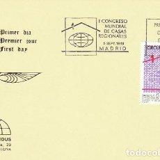 Sellos: EDIFIL 2959, I CONGRESO MUNDIAL DE CASA REGIONALES, PRIMER DIA DE 9-9-1988 IRIS MUNDUS. Lote 194709473