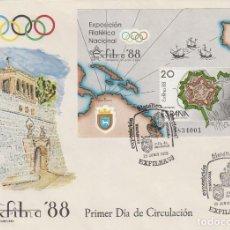 Sellos: EDIFIL 2956, EXFILNA 1988, PLANO DE LA CIUDADELA DE PAMPLONA PRIMER DIA ESPECIAL PAMPLONA 25-6-1988. Lote 194710058