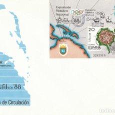 Sellos: EDIFIL 2956, EXFILNA 1988, PLANO DE LA CIUDADELA DE PAMPLONA PRIMER DIA DE 25-6-1988 SFC. Lote 194710162