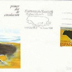 Sellos: EDIFIL 2953, TORO BRAVO (EXPOSICON MUNDIAL DE BRISBANE), PRIMER DIA DE 14-6-1988. Lote 194710697