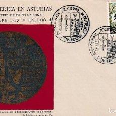 Sellos: BODAS DE PLATA SOCIEDAD DE FESTEJOS, OVIEDO (ASTURIAS) 1973. MATASELLOS EN SOBRE ILUSTRADO. MPM.. Lote 194725367