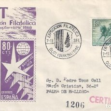 Sellos: V EXPOSICIÓN FILATÉLICA. OLOT 1960. SOBRE CON MATASELLOS ESPECIAL.. Lote 194768253