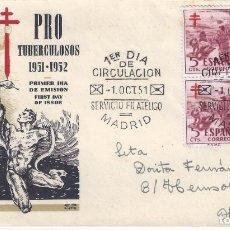 Sellos: PRO TUBERCULOSOS 1951-1952. SOBRE PRIMER DÍA DE EMISIÓN 1-OCTUBRE-1951.. Lote 194768801