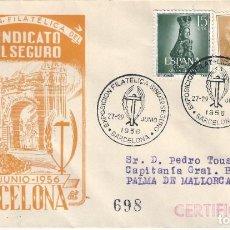 Sellos: III EXPOSICIÓN FILATÉLICA SINDICATO DEL SEGURO. BARCELONA 1956. SOBRE CON MATASELLOS ESPECIAL.. Lote 194770052