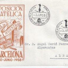 Sellos: XII EXPOSICIÓN FILATÉLICA EN LA FERIA DE MUESTRAS. BARCELONA 1958. SOBRE CON MATASELLOS ESPECIAL.. Lote 194774580