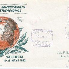 Sellos: XXX FERIA MUESTRARIO INTERNACIONAL. VALENCIA 1952. SOBRE CON MATASELLOS ESPECIAL.. Lote 194775185