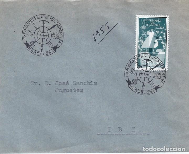 EXPOSICIÓN FILATÉLICA DEPORTIVA. BARCELONA 1958. SOBRE CON MATASELLOS ESPECIAL. (Sellos - Historia Postal - Sello Español - Sobres Primer Día y Matasellos Especiales)