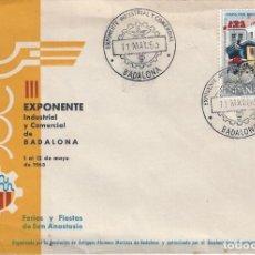 Sellos: EXPONENTE INDUSTRIAL Y COMERCIAL. BADALONA 1963. SOBRE CON MATASELLOS ESPECIAL.. Lote 194777772
