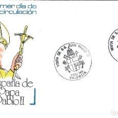 Sellos: VISITA DE S.S. JUAN PABLO II A VALENCIA . SOBRE CON MATASELLOS ESPECIAL DEL 8 NOV. 1982.. Lote 194780503