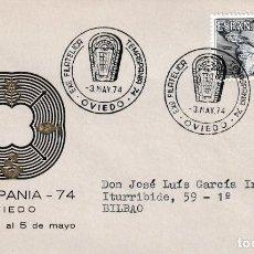 Sellos: ARQUEOLOGIA PINTURAS RUPESTRES IDOLO DE PEÑA TU TEMASPANIA, OVIEDO (ASTURIAS) 3 MAYO 1974 MATASELLOS. Lote 194860557