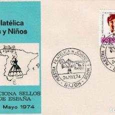 Sellos: JOVENES Y NIÑOS I MUESTRA FILATELICA, GIJON (ASTURIAS) 1974. RARO MATASELLOS EN SOBRE DE ALFIL. MPM.. Lote 194861177