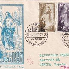 Sellos: SAGRADO CORAZON DE JESUS CENTENARIO 1957 (EDIFIL 1206/08) EN RARO SOBRE PRIMER DIA CIRCULADO DP. MPM. Lote 195025446