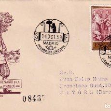 Sellos: PAZ DE LOS PIRINEOS III CENTENARIO TRATADO 1959 (EDIFIL 1249 DOS SELLOS) SPD CIRCULADO DEL SFC. MPM.. Lote 195028907