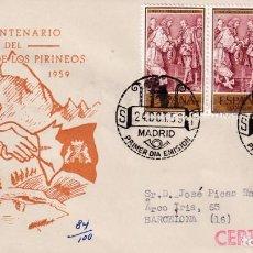 Sellos: PAZ DE LOS PIRINEOS III CENTENARIO TRATADO 1959 (EDIFIL 1249 TRES SELLOS) EN SPD CIRCULADO DP. RARO. Lote 195029176