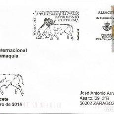 Sellos: ESPAÑA. SOBRE PRIMER DIA. CONGRESO INTERNACIONAL DE TAUROMAQUIA. ALBACETE 2015. Lote 195139428