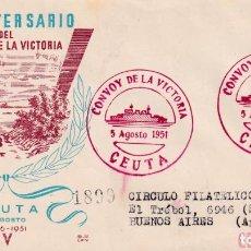 Sellos: BARCOS XV ANIVERSARIO DEL CONVOY DE LA VICTORIA, CEUTA 1951. RARO MATASELLOS EN SOBRE DE DP. MPM.. Lote 195142606