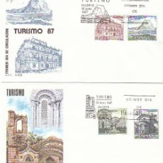 Sellos: EDIFIL 2900/3, PEÑÓN DE IFACH (ALICANTE) Y VILLACARRIEDO (CANTABRIA), PRIMER DIA 10-6-1987 SFC. Lote 195158520
