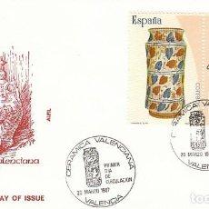 Sellos: EDIFIL 2891, CERAMICA DE MANISES, PRIMER DIA ESPECIAL DE VALENCIA DE 20-3-1987 ALFIL. Lote 195158688