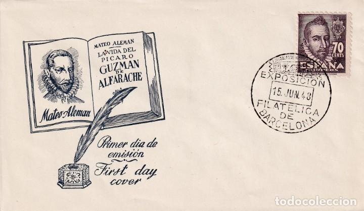 MATEO ALEMAN PERSONAJES 1948 (EDIFIL 1036) SPD GRIS EXPOSICION COLONIAS Y EXCOLONIAS BARCELONA. MPM. (Sellos - Historia Postal - Sello Español - Sobres Primer Día y Matasellos Especiales)