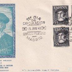 Sellos: HERNAN CORTES PERSONAJES 1948 (EDIFIL 1035 CUATRO SELLOS) EN SOBRE PRIMER DIA EDICIONES ORBE MOD 1.. Lote 195183992