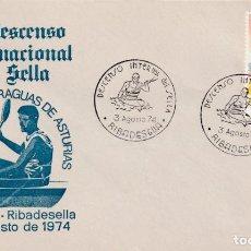 Sellos: DEPORTES 38 DESCENSO INT DEL SELLA, RIBADESELLA (ASTURIAS) 1974. MATASELLOS EN RARO SOBRE ILUSTRADO.. Lote 195231276