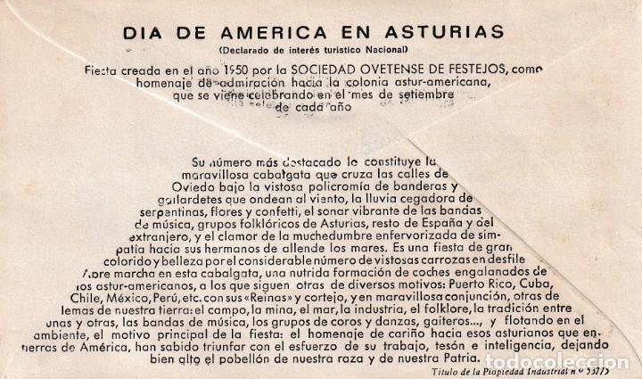 Sellos: GIGANTES Y CABEZUDOS DIA DE AMERICA EN ASTURIAS, OVIEDO 1974. MATASELLOS EN SOBRE EO VER REVERSO MPM - Foto 2 - 195232956