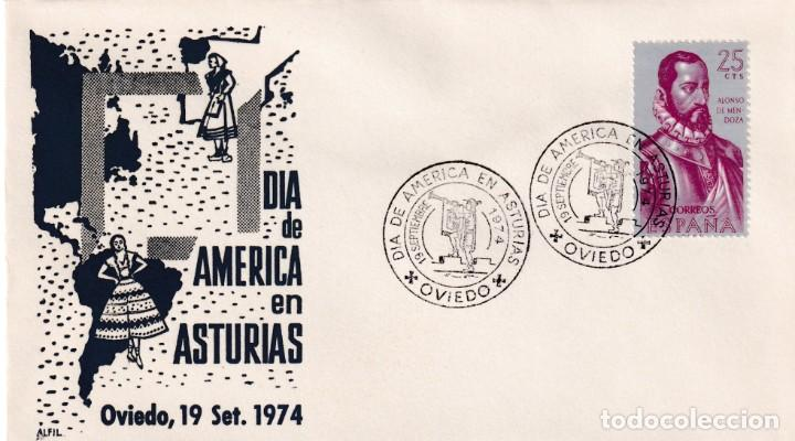 DIA DE AMERICA EN ASTURIAS, OVIEDO 1974. MATASELLOS EN SOBRE DE ALFIL. MPM. (Sellos - Historia Postal - Sello Español - Sobres Primer Día y Matasellos Especiales)
