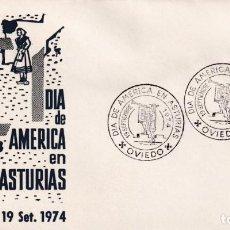 Sellos: DIA DE AMERICA EN ASTURIAS, OVIEDO 1974. MATASELLOS EN SOBRE DE ALFIL. MPM.. Lote 195233050