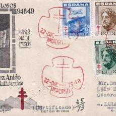 Sellos: SANATORIO GENERALISIMO FRANCO PRO TUBERCULOSOS 1948 (EDIFIL 1040/43) EN SPD CIRCULADO DE ET. MPM.. Lote 195284838