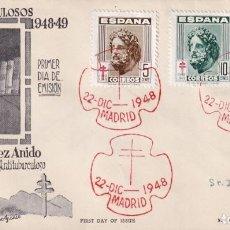 Sellos: PRO TUBERCULOSOS 1948 (EDIFIL 1040/42) SPD CIRCULADO DE ET SANATORIO GENERALISIMO FRANCO. RARO. MPM.. Lote 195285012