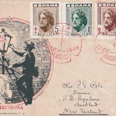 Sellos: PRO TUBERCULOSOS 1948 (EDIFIL 1040/43) EN SOBRE PRIMER DIA CIRCULADO DE DP. BONITO Y RARO ASI. MPM.. Lote 195285363