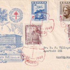 Sellos: SANATORIO DE PORTA COELI EN VALENCIA PRO TUBERCULOSOS 1948 (EDIFIL 1040/43) SPD CIRCULADO ALFIL. MPM. Lote 195287652