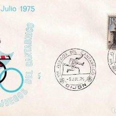 Sellos: DEPORTES VIII JUEGOS DEL CANTABRICO, GIJON (ASTURIAS) 1975 MATASELLOS SALTO DE VALLAS EN SOBRE ALFIL. Lote 195333781