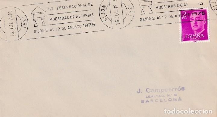 XIX FERIA NACIONAL MUESTRAS DE ASTURIAS, GIJON 1975. RARO MATASELLOS DE RODILLO EN SOBRE. MPM. (Sellos - Historia Postal - Sello Español - Sobres Primer Día y Matasellos Especiales)