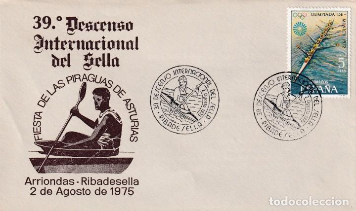 DEPORTES 39 DESCENSO INT DEL SELLA, RIBADESELLA (ASTURIAS) 1975. MATASELLOS EN RARO SOBRE ILUSTRADO. (Sellos - Historia Postal - Sello Español - Sobres Primer Día y Matasellos Especiales)