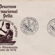 Sellos: DEPORTES 39 DESCENSO INT DEL SELLA, RIBADESELLA (ASTURIAS) 1975. MATASELLOS EN RARO SOBRE ILUSTRADO.. Lote 195334236
