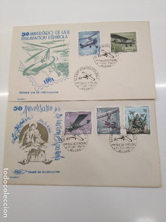 ESPAÑA .EDIFIL 1401-1405 SPD MAURELO. 50 ANIVERSARIO AVIACION (Sellos - Historia Postal - Sello Español - Sobres Primer Día y Matasellos Especiales)