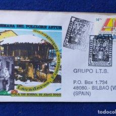 Sellos: SOBRE CON MATASELLO. 2000 POLA DE SIERO. LAVADEROS, FUENTES, BEBEDEROS. XXI SEMANA FOLCLORE ASTURIA.. Lote 195346318