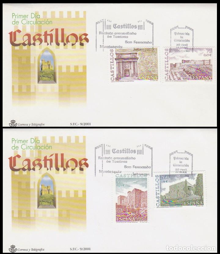 EDIFIL 3785/8, CASTILLOS: TORTOSA, SAN FERNANDO, JADRAQUE Y MONTESQUIU, PRIMER DIA DE 20-4-2001 SFC (Sellos - Historia Postal - Sello Español - Sobres Primer Día y Matasellos Especiales)