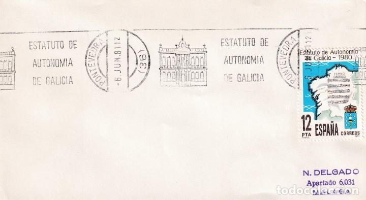 ESTATUTO AUTONOMIA DE GALICIA, PONTEVEDRA 1981. RARO MATASELLOS DE RODILLO EN SOBRE. (Sellos - Historia Postal - Sello Español - Sobres Primer Día y Matasellos Especiales)