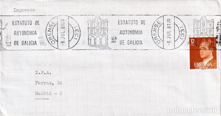ESTATUTO DE AUTONOMIA DE GALICIA, ORENSE 1981. RARO MATASELLOS DE RODILLO EN SOBRE. (Sellos - Historia Postal - Sello Español - Sobres Primer Día y Matasellos Especiales)
