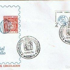 Sellos: EDIFIL 2179 DIA MUNDIAL DEL SELLO. SOBRE Y MATASELLADO CONMEMORATIVO FERIA DEL SELLO MADRID 1974. Lote 195438876