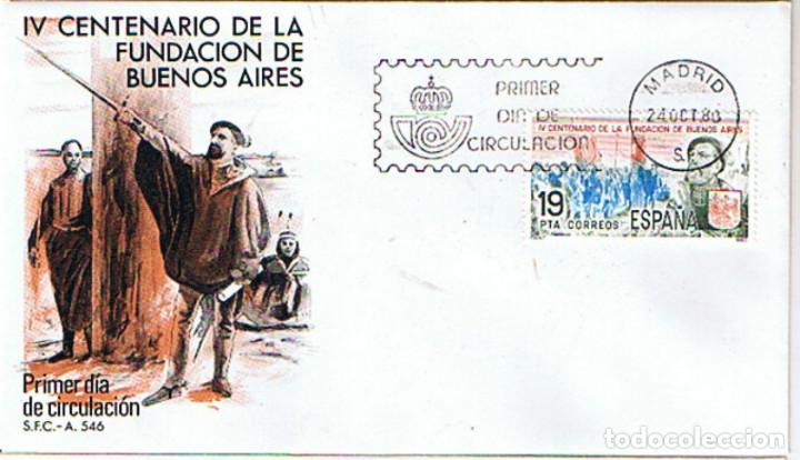 EDIFIL 2584 CENTENARIO FUNDACION DE BUENOS AIRES. SOBRE PRIMER DIA CIRCULACIÓN (Sellos - Historia Postal - Sello Español - Sobres Primer Día y Matasellos Especiales)