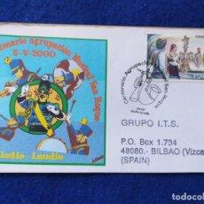 Sellos: SOBRE CON MATASELLO. MUSICA, AGRUPACION MUSICAL SAN ROQUE CENTENARIO, LAUDIO-LLODIO (ALAVA) 2000.. Lote 195444645
