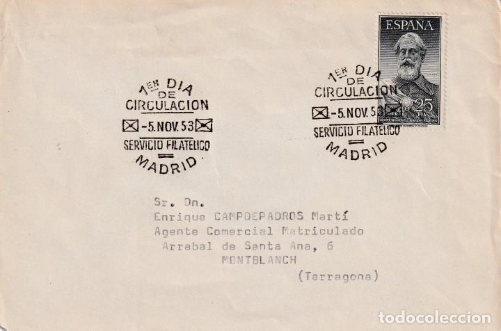 LEGAZPI MIGUEL LOPEZ DE 1953 (EDIFIL 1124) EN SOBRE PRIMER DIA CIRCULADO. RARO ASI. OCASION. MPM. (Sellos - Historia Postal - Sello Español - Sobres Primer Día y Matasellos Especiales)